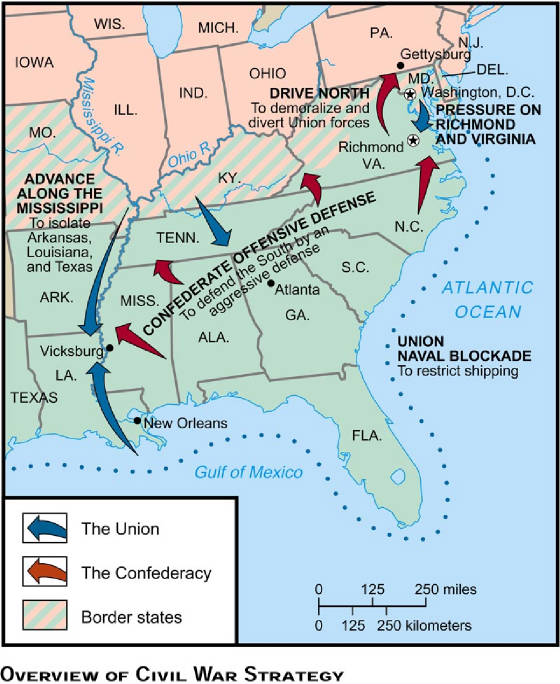 Civil War Strategy Tactics Battle Army Union Confederate - Map of the us during civil war
