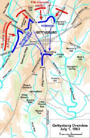 Gettysburg Campaign Map Battle Of Gettysburg Campaign Maps - Battle of gettysburg us map