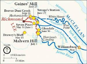 peninsula campaign civil war seven days battles virginia map
