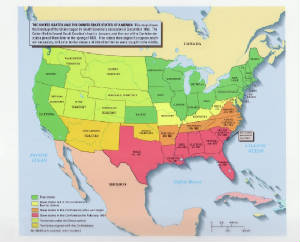South Secession Map Southern States Secede Civil War Rights on