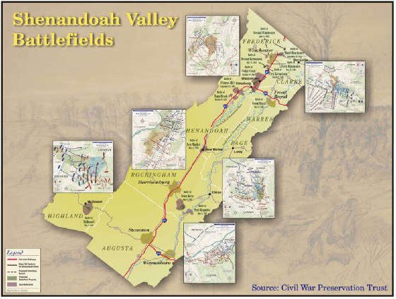 General Stonewall Jackson Shenandoah Campaign Valley Map