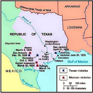 Map Of Texas During The Alamo.Texas Timeline Texas Revolution Texas Independence History