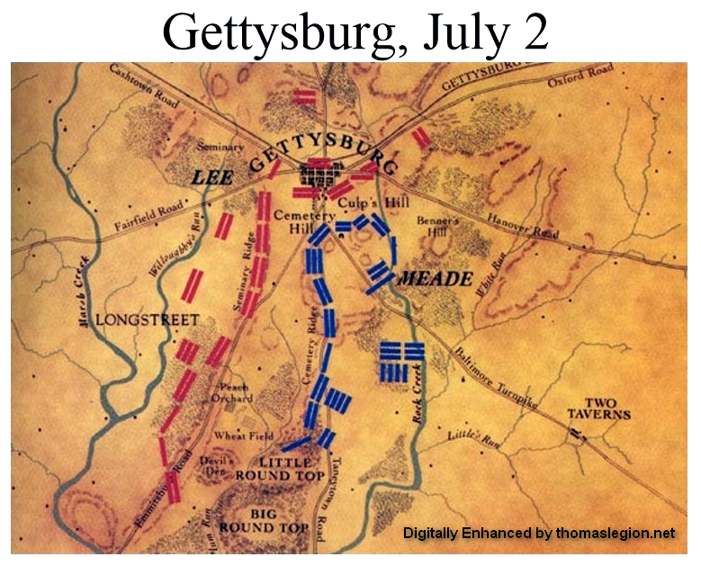 battle of gettys burge The sky turned a glowing red as the sun rose over gettysburg, pennsylvania, on july 1, 1863 the fields outside of town were orderly and quiet, with a few large wood-and-stone barns scattered throughout the landscape nothing indicated that by the day's end the largest battle ever fought on the.