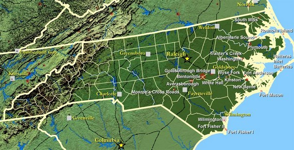 North Carolina Civil War Map Tidewater Operations Longstreet