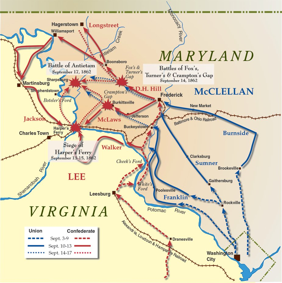 Battle of Antietam and Maryland Campaign MapBattle Of Antietam Simple Map