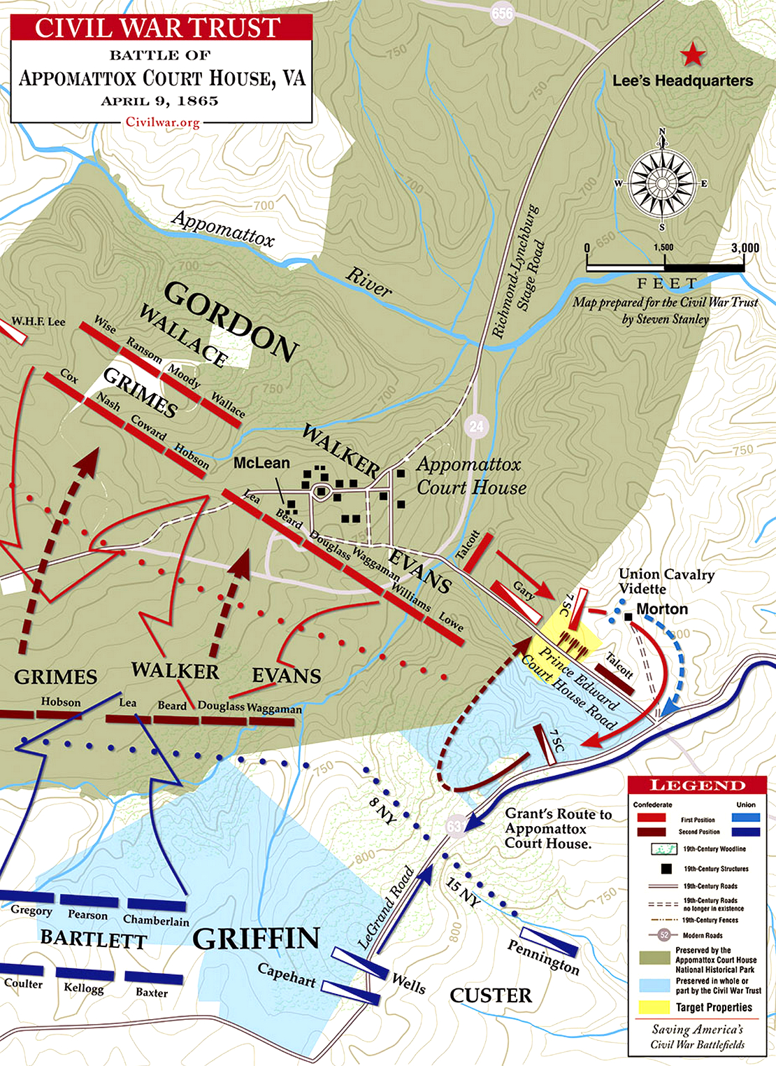 Battle Of Appomattox Court House - Appomattox court house us map
