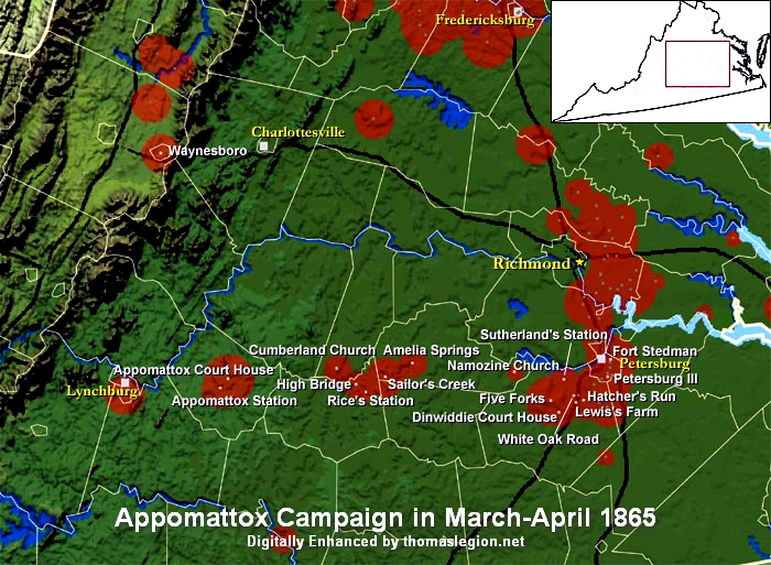 Appomattox Campaign - Appomattox court house us map