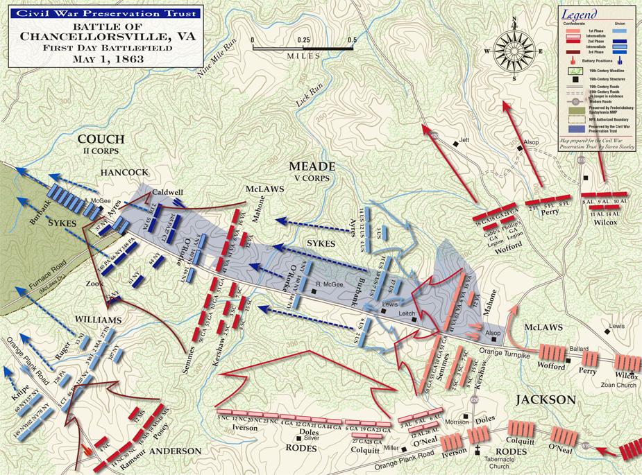 Battle of Chancellorsville Campaign Civil War Virginia Map
