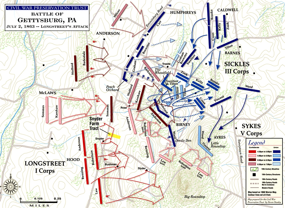 Battle Of Gettysburg Pitzer Woods - Gettysburg pa in us map