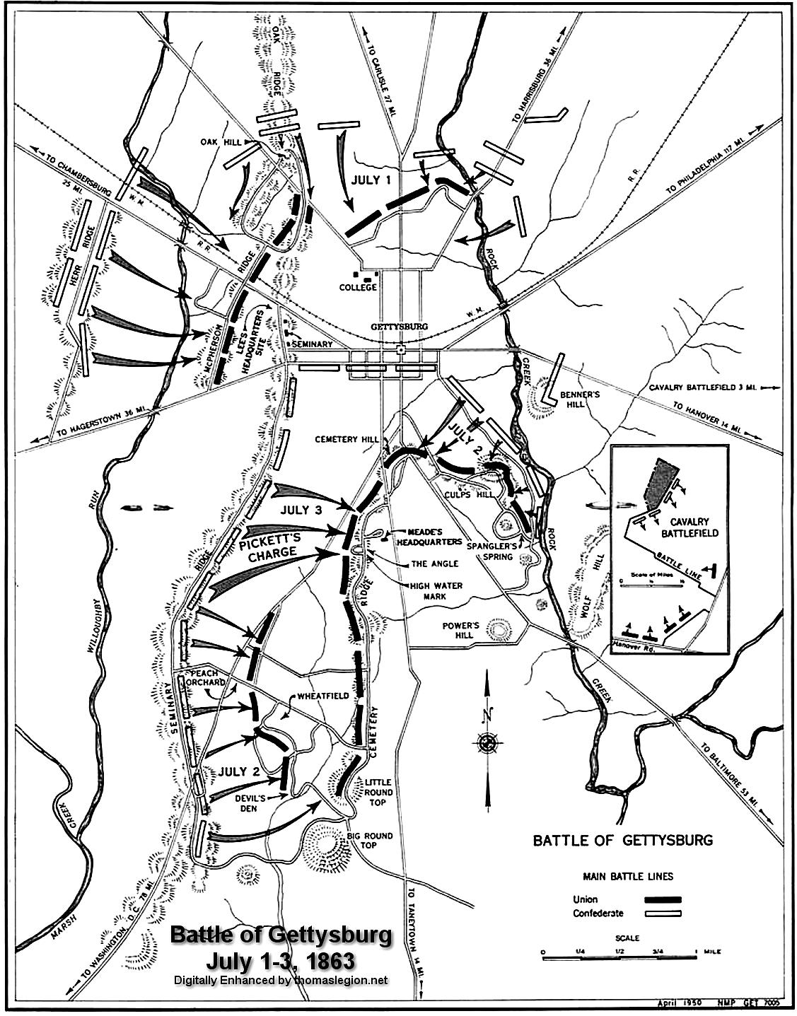 Battle Of Gettysburg Civil War Casualties Total Soldiers Us - Gettysburg-on-us-map