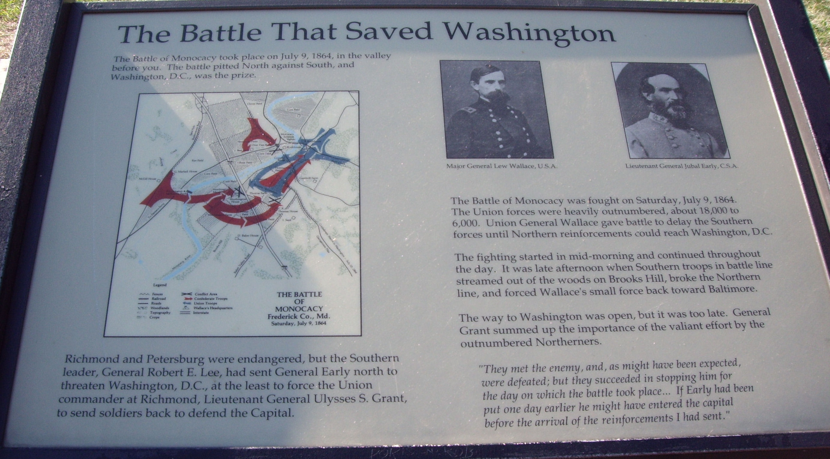a history of the battle of monocacy in the american civil war A young ryan t quint sat at his high school desk entranced in a civil war documentary his teacher had no retreat from destiny playing on the screen, a 2006 film about the battle of monocacy quint didn't know that this would spark his curiosity into the history behind smaller battles and lead to.