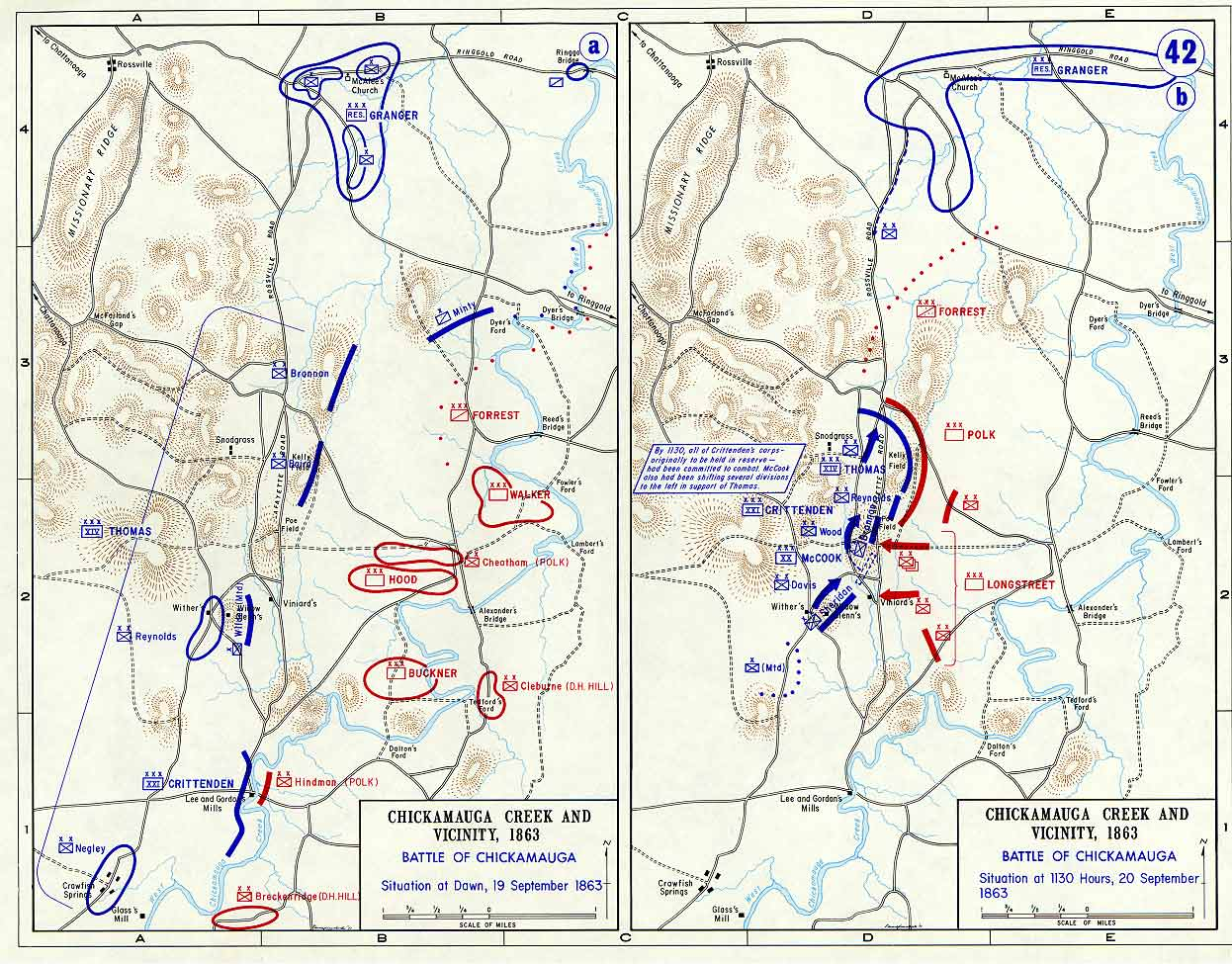 Battle of Chickamauga Confederate and Union Positions