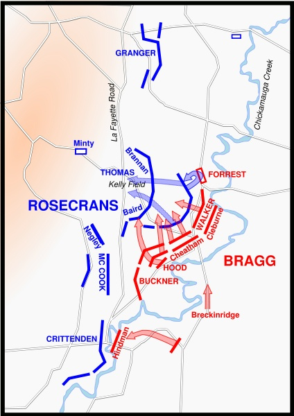Battle of Chickamauga Battlefield Maps and Troop Positions