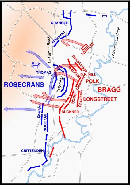 Battle Of Chickamauga Battlefield Maps And Troop Positions - Battle of chickamauga map