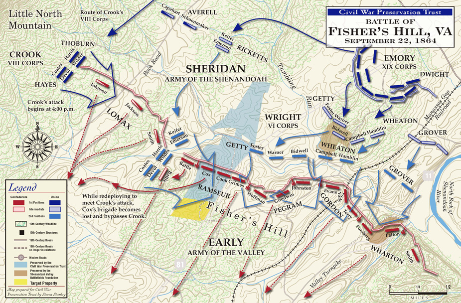 Battle of Fishers Hill Civil War Virginia History Map