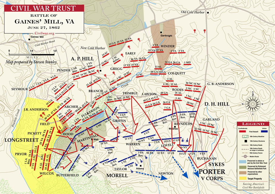 Battle of Gaines Mill Civil War Virginia Richmond Map Killed on 1 6 miles river ariel map, civil war virginia map, battle of mill springs battle map, mechanicsville battle map, west civil war battle sites map, gaines mill civil war, original civil war battle map, battle of gaines mill map,