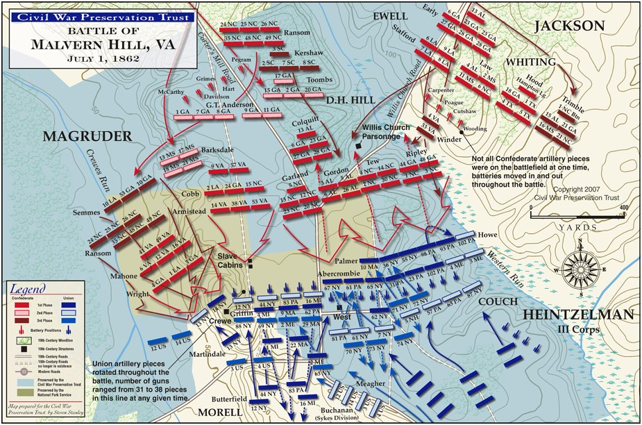 Battle Of Malvern Hill - Us map civil war battles