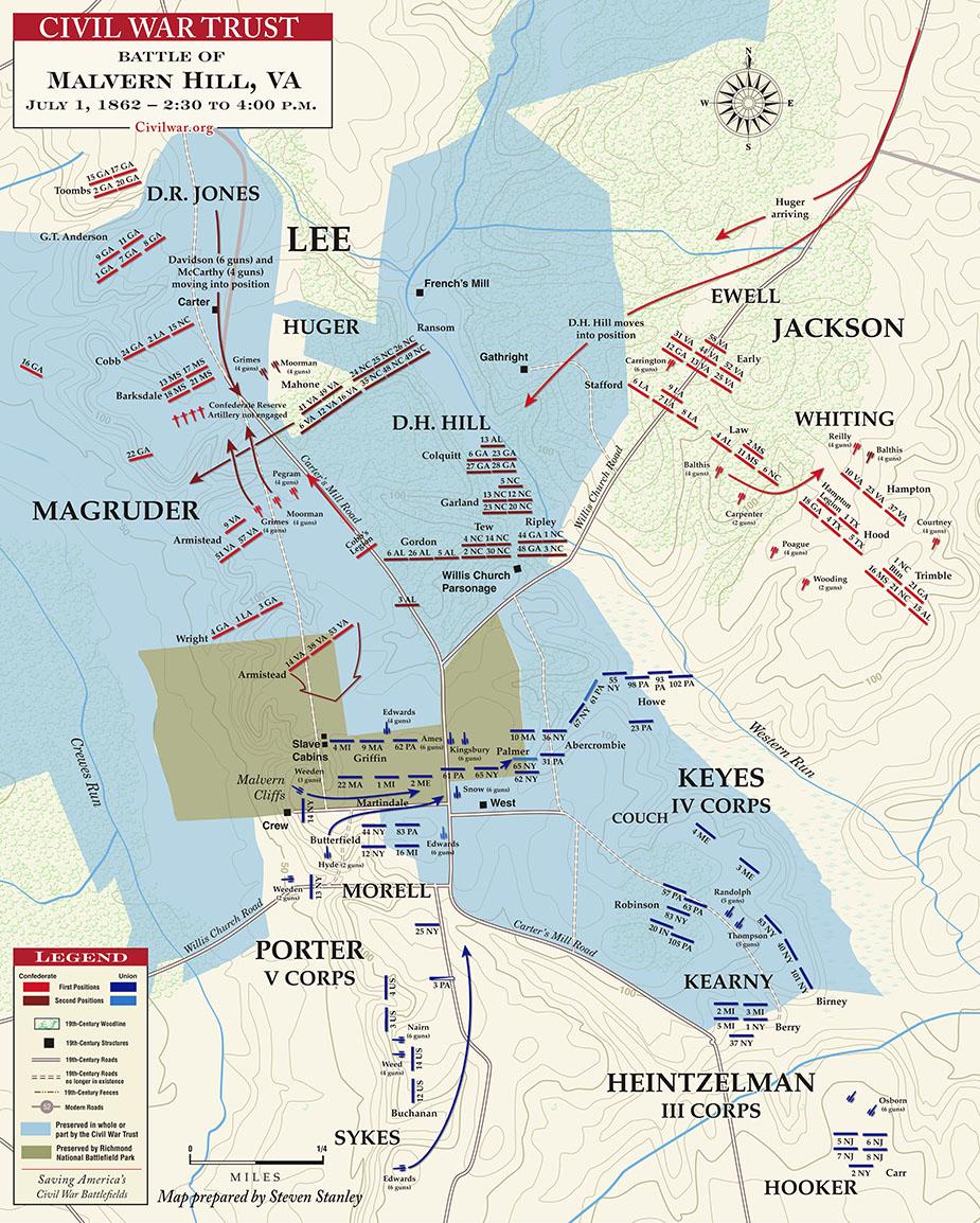 civil war battle of malvern hill battlefield map. battle of malvern hill civil war virginia battlefield map