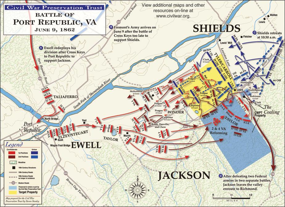 Battle of Port Republic Civil War Virginia Port Republic Map