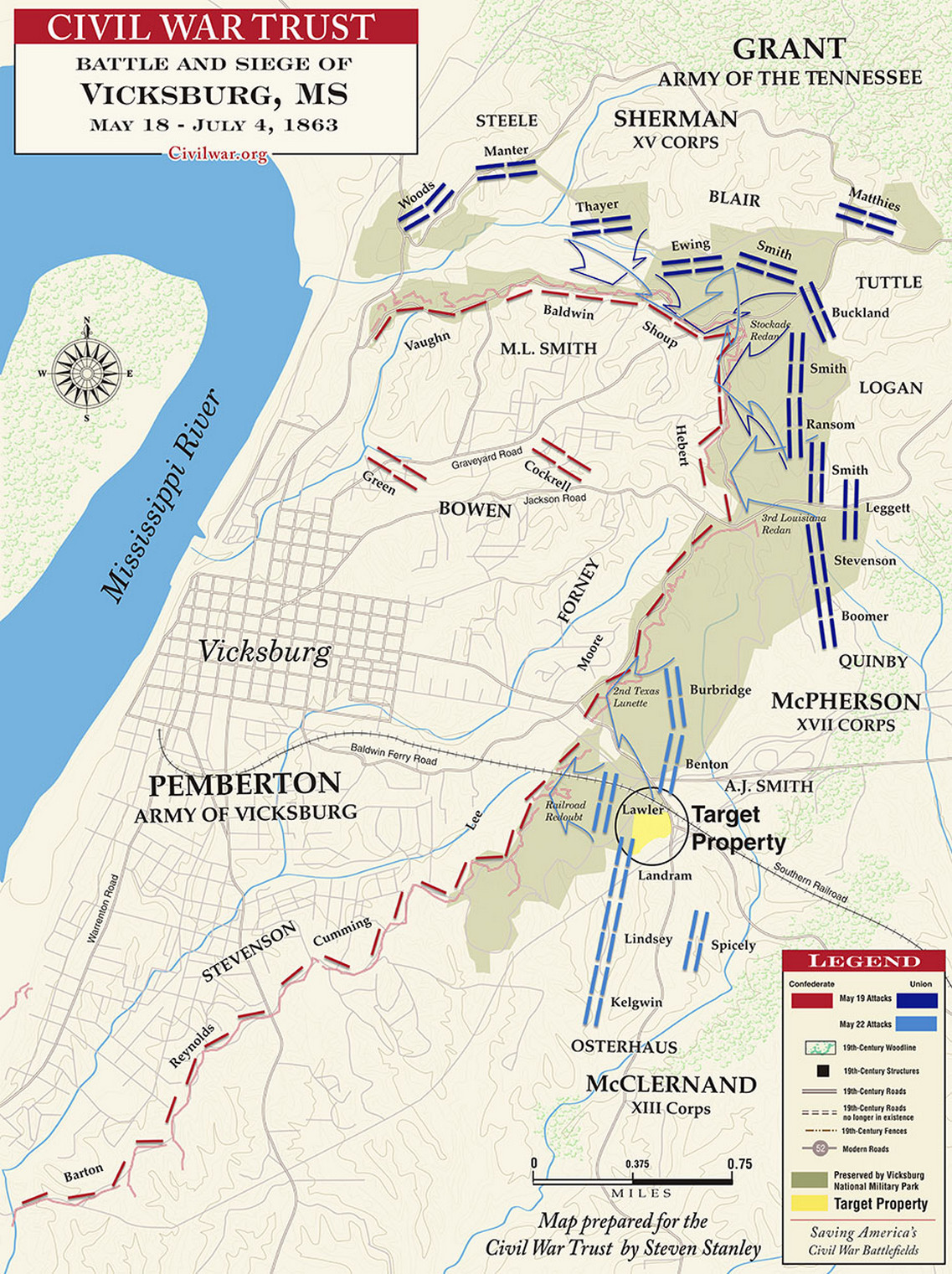 The Battle of Vicksburg, May 22, 1863, from Leslie's Weekly - Stock ...