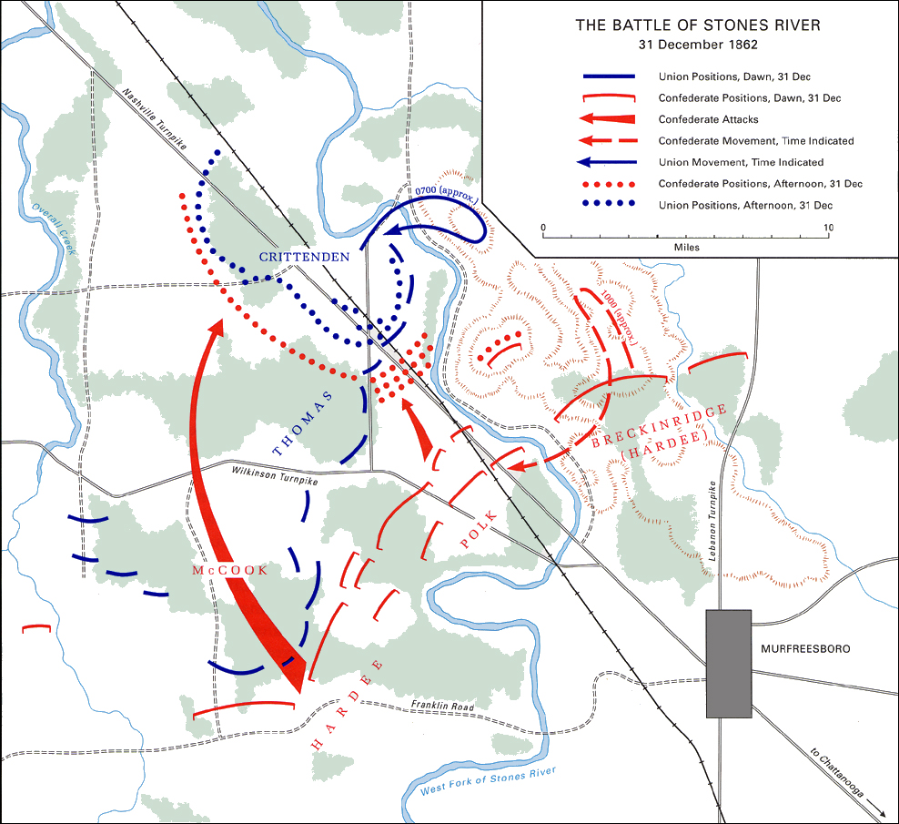 Battle Stones River Civil War Tennessee Stones River Killed - Ft donelson river on us map