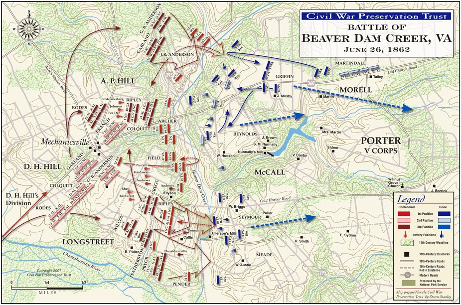 Battle of Mechanicsville Virginia Civil War Battlefield Map