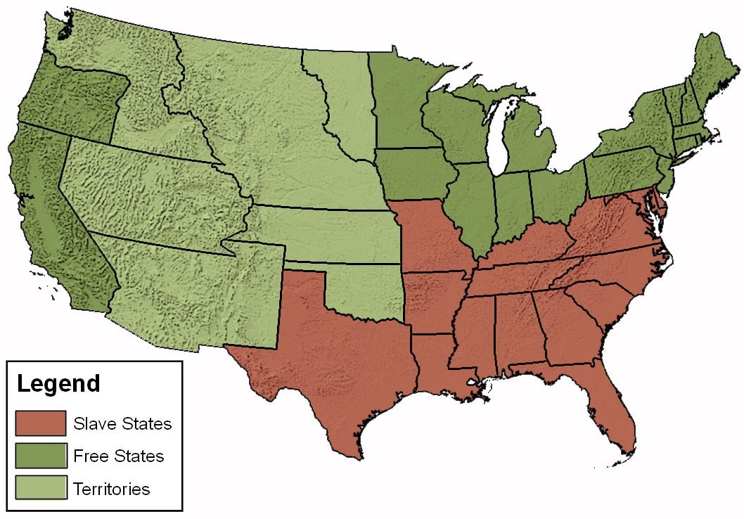 Slavery States Map.Border State Civil War Secession Border States Slavery Map