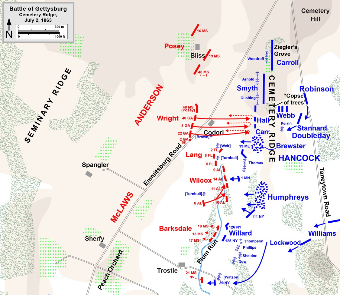 Battle Of Gettysburg Cemetery Ridge - Battle of gettysburg us map