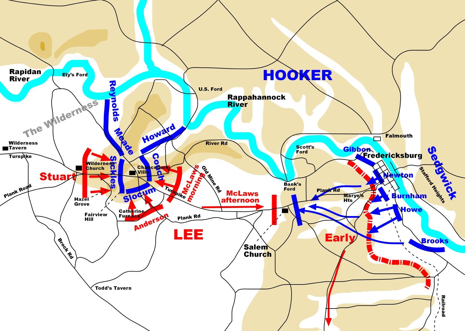 Chancellorsville Battlefield Map Civil War Chancellorsville on