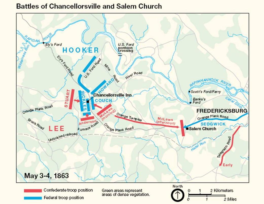 on chancellorsville battlefield map