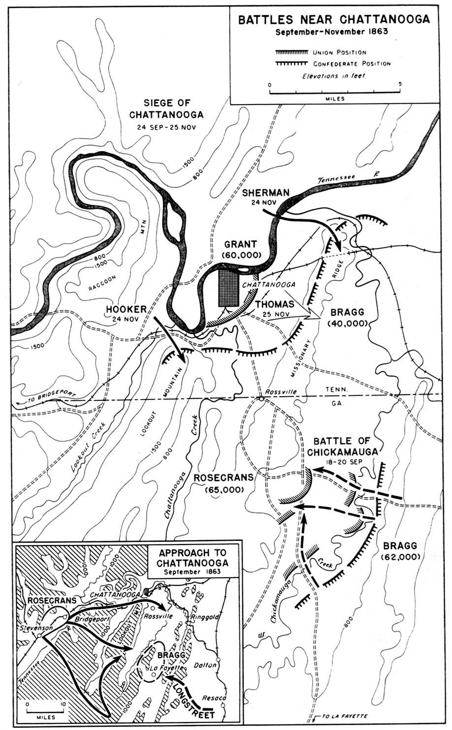 Battle Of Chickamauga Civil War Georgia Chickamauga Campaign - Chickamauga on us map
