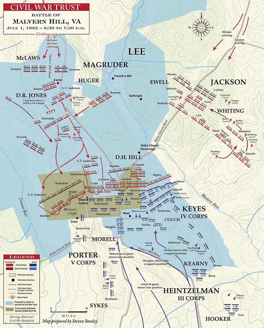 Battle Of Malvern Hill - Malvern Pennsylvania On Us Map