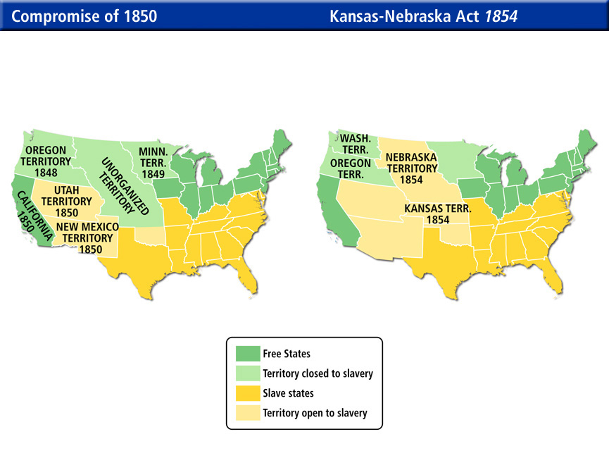 Slavery States Map.Compromise Of 1850 Slavery Fugitive Slave Law Compromise Map