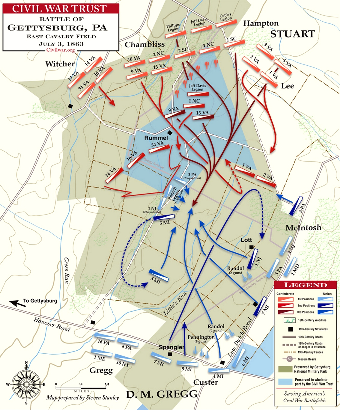 East Cavalry Field, Battle of Gettysburg Map.jpg