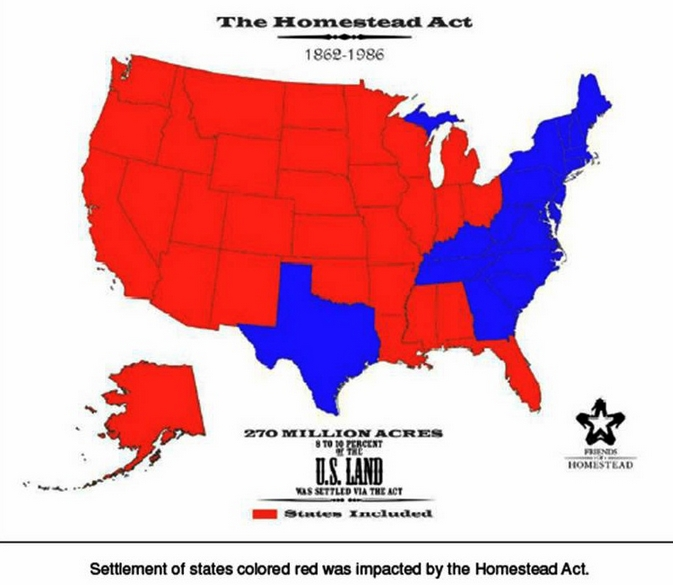 homestead act mapjpg