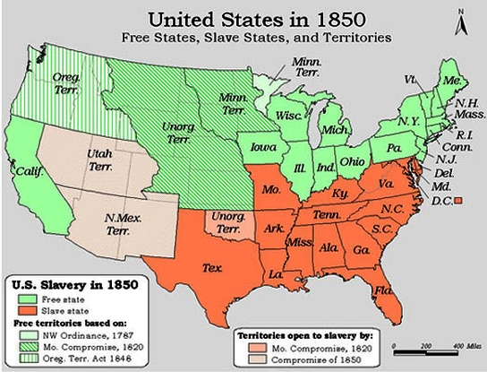 map of compromise of 1850 and fugitive slave law courtesy bingcom