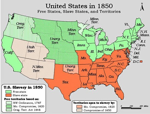 Slave States And Free States Wikipedia Slavery In America - Map of the us 1850