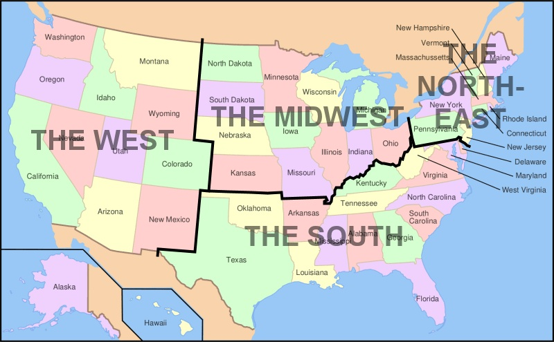 Map Of United States By Regions.U S Regions West Midwest South And Northeast