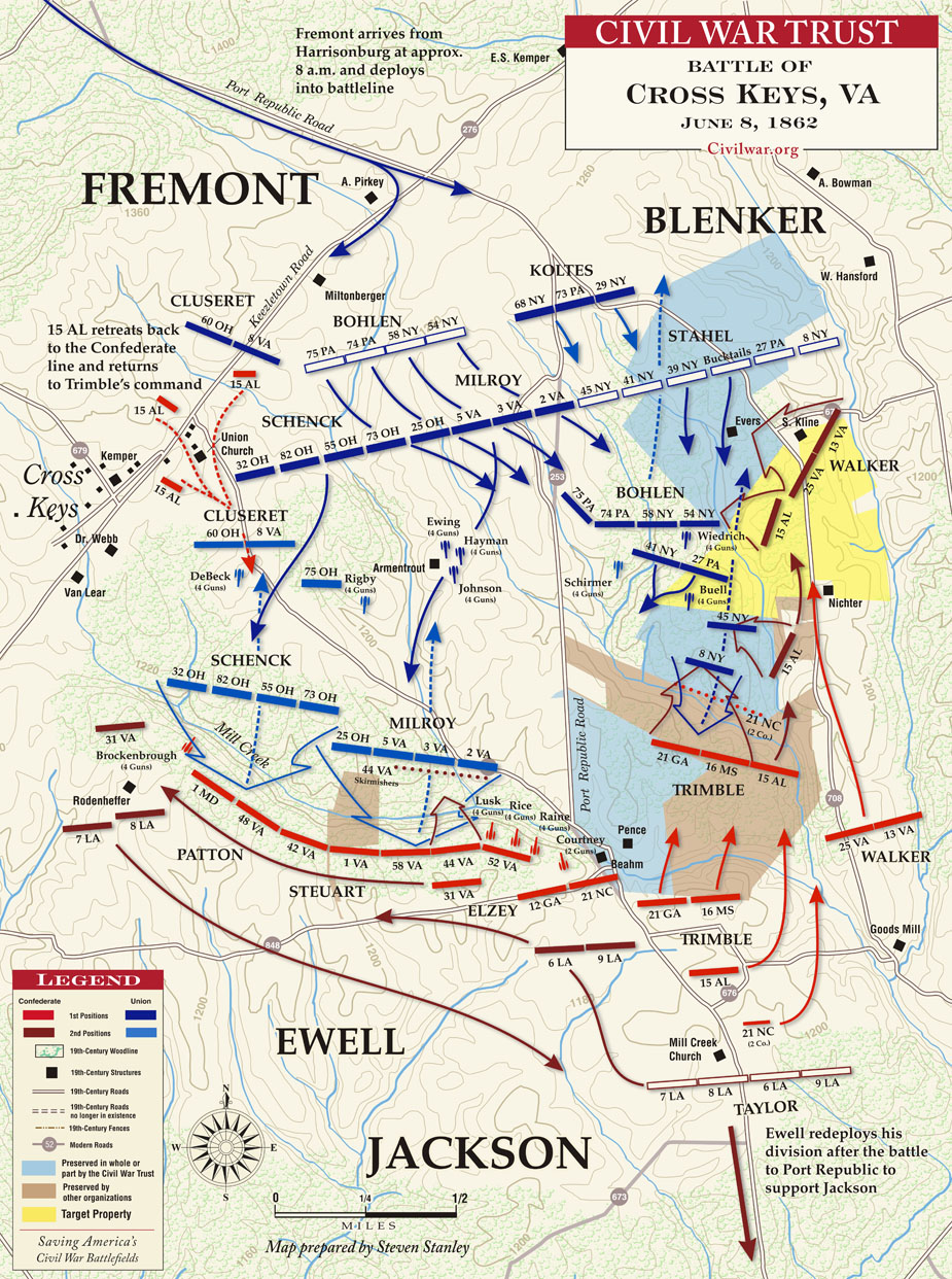 Virginia Civil War Battle of Cross Keys Map.jpg