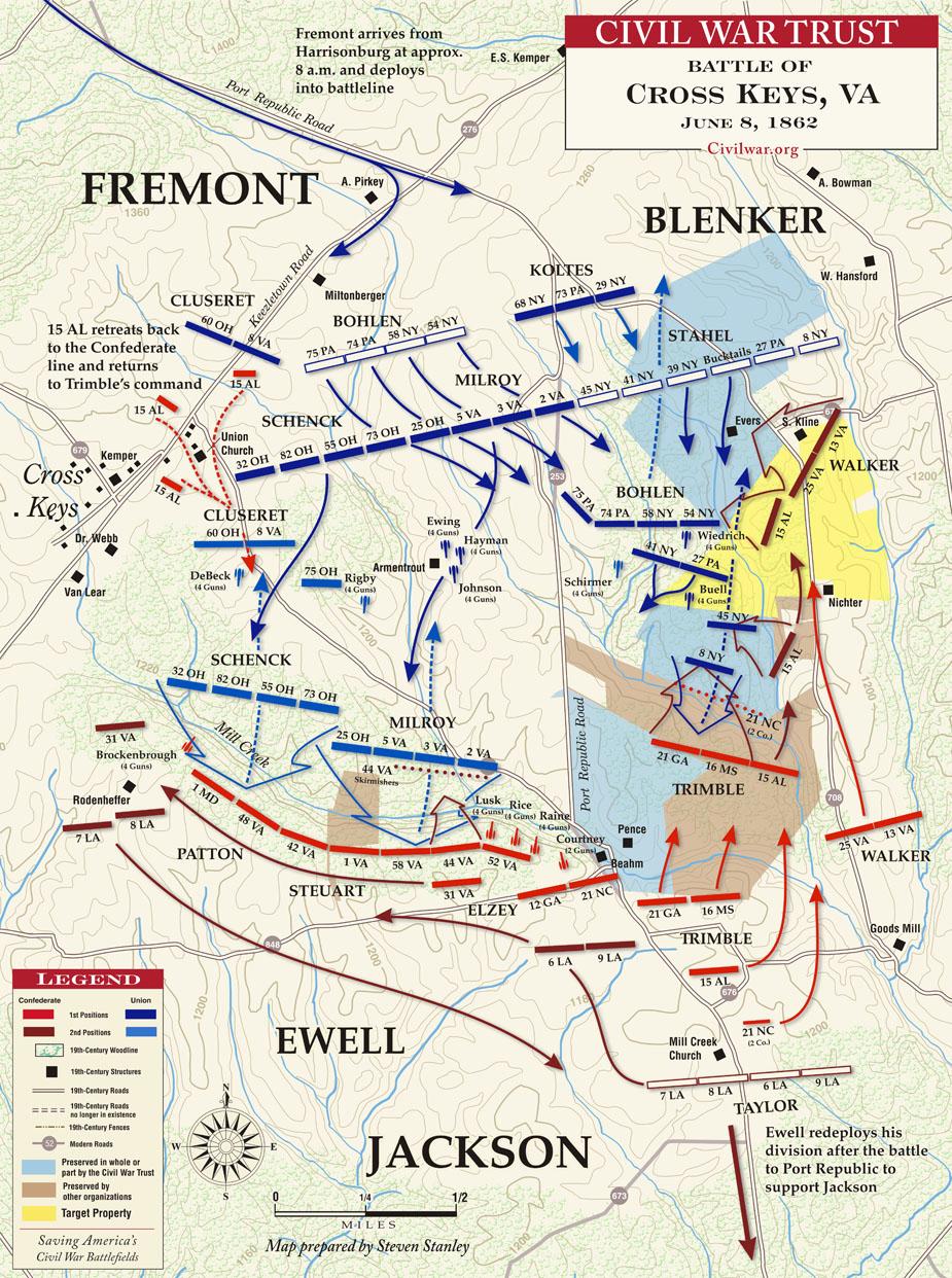 Virginia Civil War Battle of Cross Keys Map Battlefield