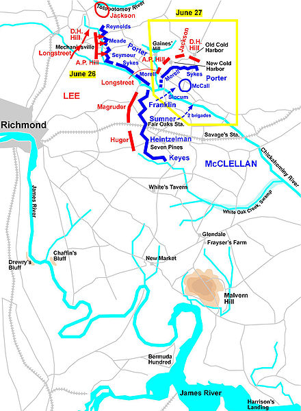 battle of gaines mill civil war virginia richmond map killed