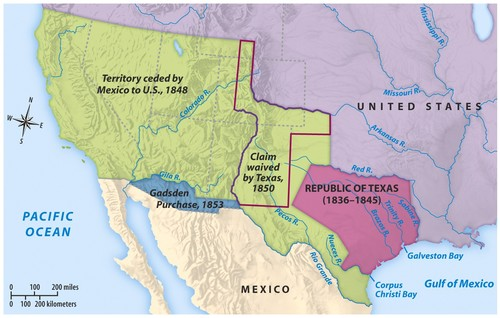 Map Of Texas Mexico.Mexican Cession History Territory Mexican Cession Summary Us