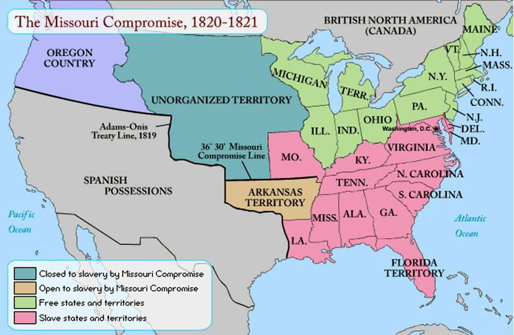 Missouri Compromise Act Missouri Compromise Of History - Us map missouri