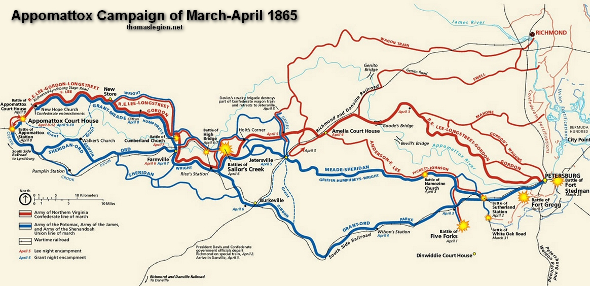 THE APPOMATTOX CAMPAIGN - Appomattox court house us map