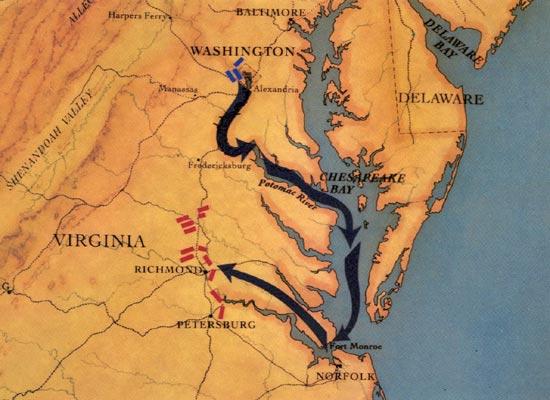 american civil war peninsula campaign seven days battles map