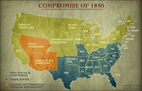 Compromise Of 1850 And Popular Sovereignty Map Jpg
