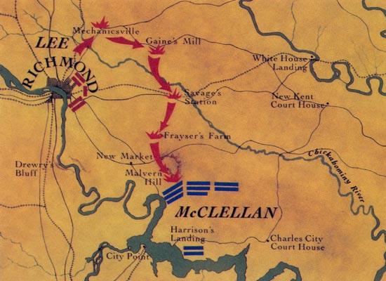 Seven Days Battles Around Richmond Virginia Civil War Map