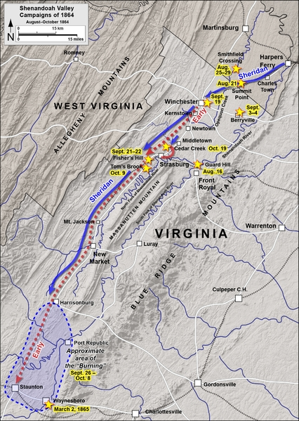 Third Battle of Winchester 3rd Opequon Civil War History Map