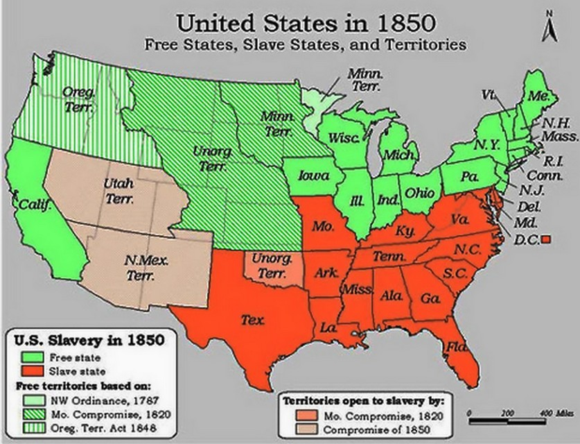 Compromise Of History Summary Slavery Compromise Map US - Map of us in 1850