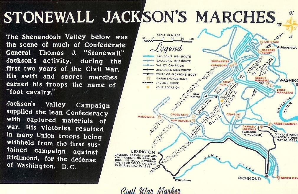 Stonewall Jackson Valley Campaign Shenandoah Civil War Map